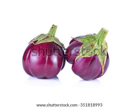 purple eggplant or aubergine vegetable isolated on white background. - stock photo