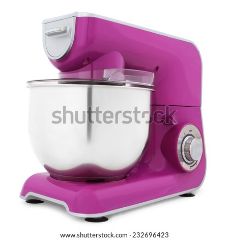 purple electric mixer isolated on white background  - stock photo