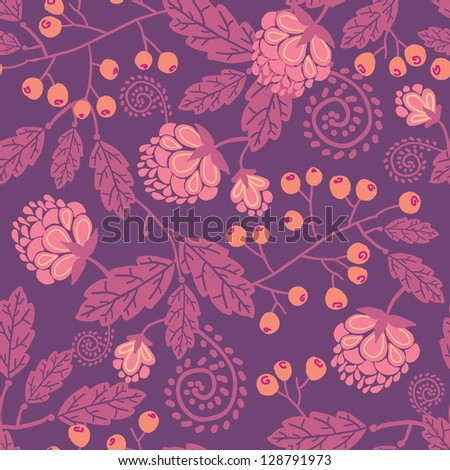 Purple flowers and berries seamless pattern background raster - stock photo