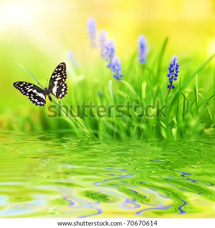 Purple flowers reflected in rendered water - stock photo
