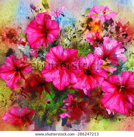 Purple flowers, watercolor painting and mixed media - stock photo