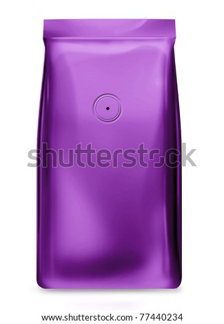 purple foil package bag with valve isolated on white background - stock photo