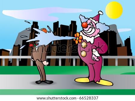 purple funny clown make a clown joke on street illustration - stock photo
