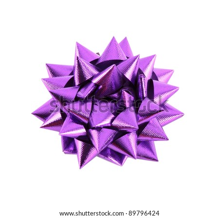 Purple Gift Bow Isolated on White - stock photo