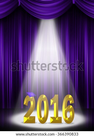 purple graduation cap on gold 2016 in spotlight with purple curtain backdrop for class of 2016 - stock photo