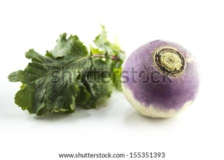 purple headed turnips on white background  - stock photo