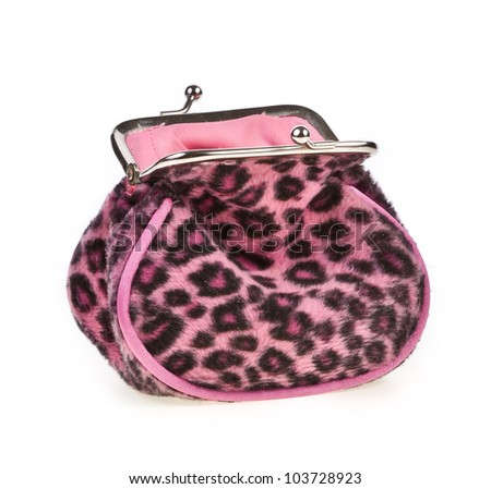 Purple leopard empty purse  isolated on white background - stock photo