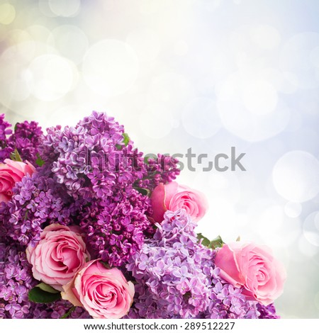 Purple Lilac flowers with pink roses close up   on bokeh background - stock photo