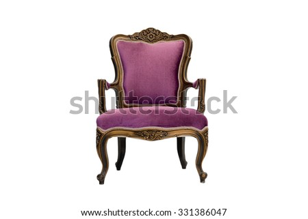 purple luxury armchair on white background - stock photo