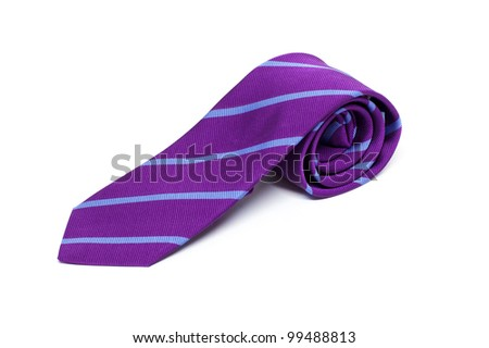 Purple male tie isolated on white - stock photo