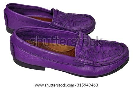 Purple men genuine leather shoes - stock photo