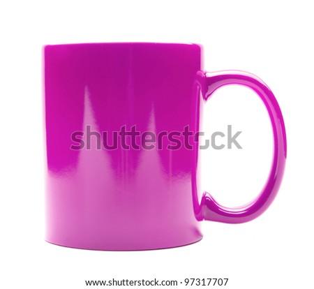 purple mug isolated on a white background - stock photo