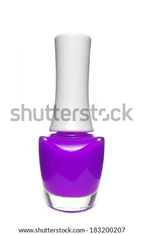 purple nail polish bottle on white background - stock photo