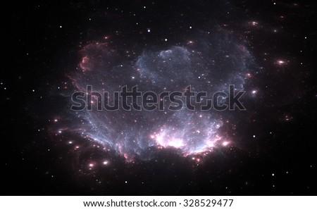 Purple Nebula in Deep Space - stock photo