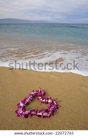 Purple orchid flower lei on a golden sandy tropical beach with island on distant horizon - stock photo