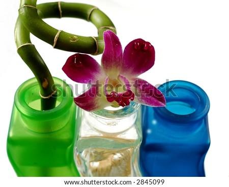 Purple orchid on aroma bottles - stock photo