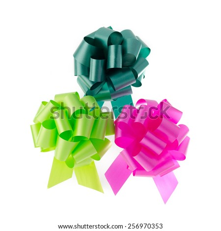 Purple organza ribbon bow isolated on white background - stock photo