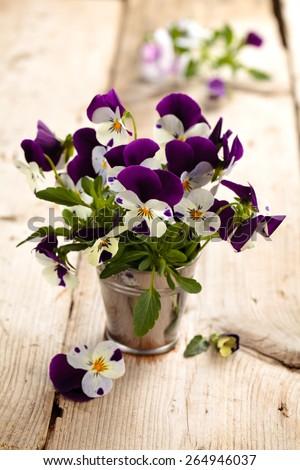 Purple pansies in vase on rustic wooden table. - stock photo