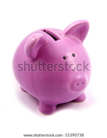 purple piggy-bank isolated on white background - stock photo