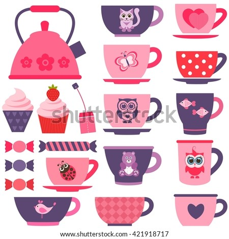 purple, pink and red tea cups. Raster version - stock photo
