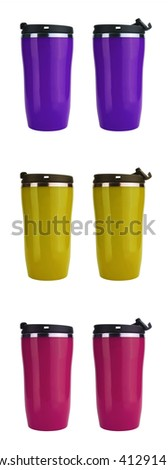 Purple, pink and yellow thermos coffee flasks isolated on white with copy space  - stock photo