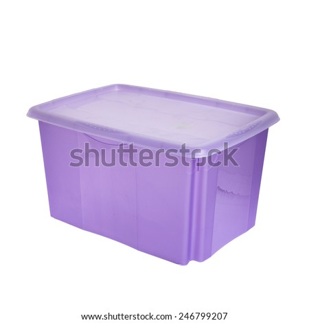 purple plastic box with lid isolated on white  - stock photo