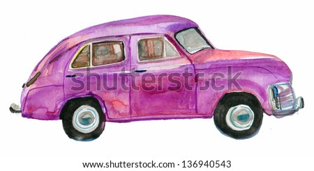 purple retro car isolated on white background. watercolor - stock photo