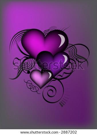 purple retro hearts - stock photo