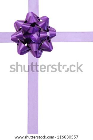 Purple ribbon over white paper - stock photo