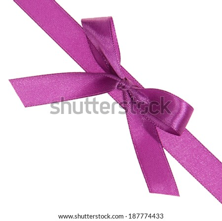 Purple ribbon with a bow diagonally isolated on white background - stock photo