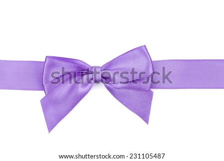 Purple ribbon with bow. Isolated on white background - stock photo