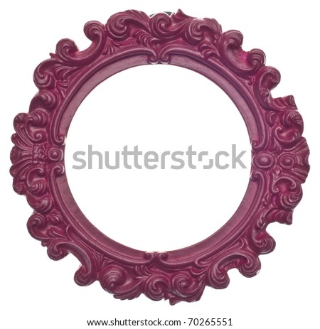 Purple Round Modern Vibrant Colored Empty Frame Isolated on White with a Clipping Path. - stock photo
