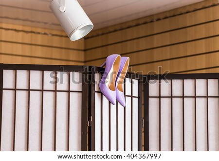 purple shoes on high heels - stock photo