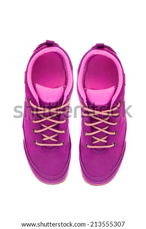 purple shoes - top view, isolated - stock photo