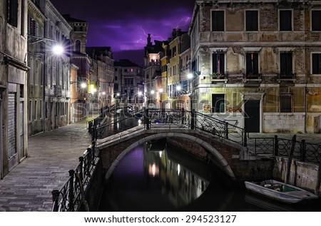 Purple sky stormy night in Venice, Italy - stock photo