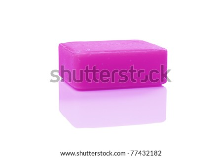 purple soap on white with clipping paths - stock photo