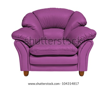Purple sofa on white background with clipping path - stock photo