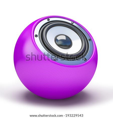Purple sphere speaker 3D - stock photo