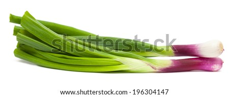 purple spring onions isolated on white - stock photo