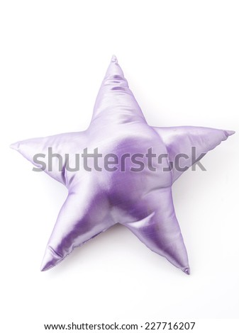 purple star pillow on white background - stock photo