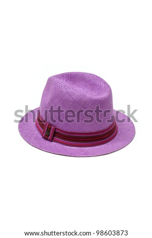 purple straw hat with ribbon isolated on white background - stock photo