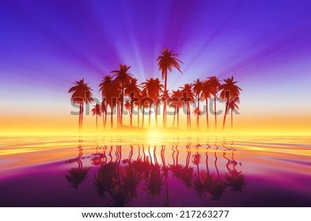 purple sun rays inside coconut palms island on tranquil tropic sea - stock photo