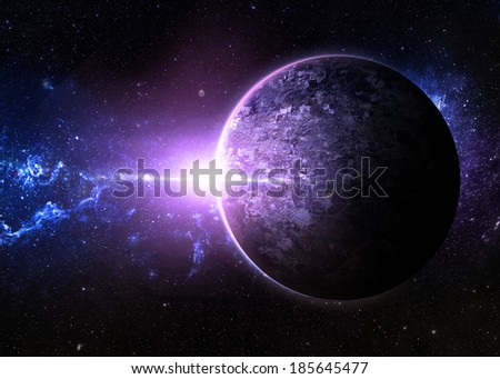 Purple Sunrise over Lone Planet - Elements of This Image Furnished By NASA  - stock photo