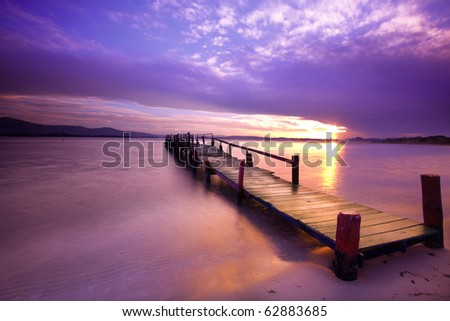 Purple sunset - stock photo