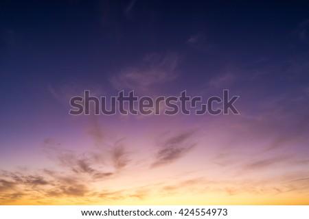 Purple sunset or sunrise sky - stock photo