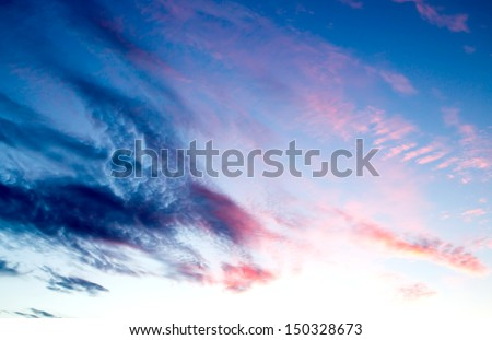 purple sunset sky - stock photo
