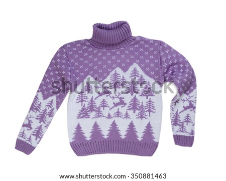 Purple sweater with a reindeer with a high neck. Isolate on white. - stock photo
