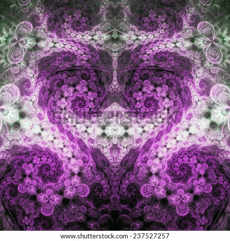 Purple swirly fractal heart, valentine's day motive, digital artwork for creative graphic design - stock photo