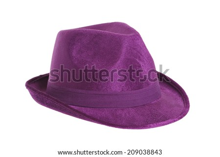 Purple Top Hat isolated against white  - stock photo