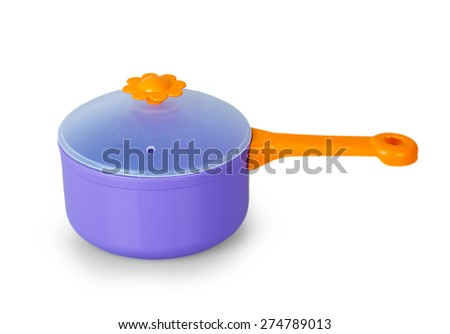 Purple toy pan isolated on white background - stock photo
